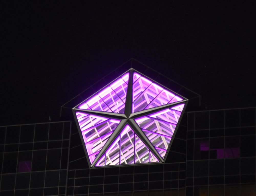 FCA US Illuminates Pentastar on Its Headquarters Tower Purple for National Coming Out Day and National Spirit Day
